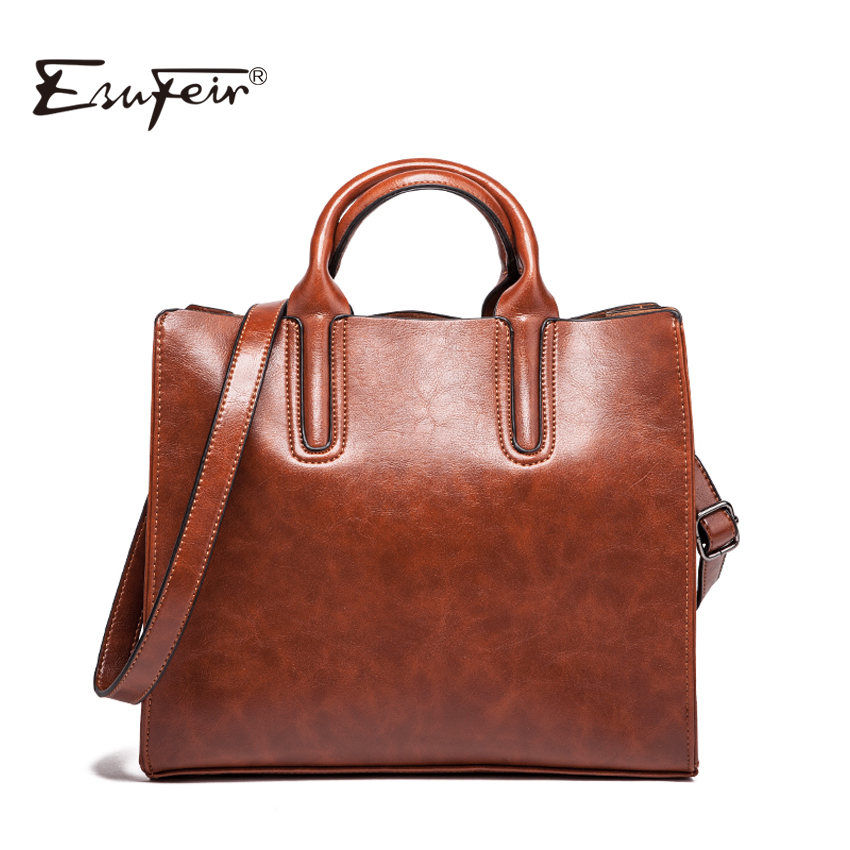 2018 ESUFEIR Brand PU Women Shoulder Bag Solid Oil Wax Leather Handbag Fashion Large Capacity Casual Tote Women Crossbody Bag 2018 esufeir brand women casual tote bag genuine leather women handbag fashion tassel shoulder bag large capacity tote women bag