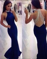 G615 темно синие длинные платья Русалка для выпускного вечера 2018 Холтер vestido de festa бисерное вечернее платье Джерси прозрачная спина в моде M554