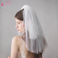 Two Layers White Tulle Wedding Veils Shoulder Length Champagne Pearls Simple Bride Veil Hot Sale V616