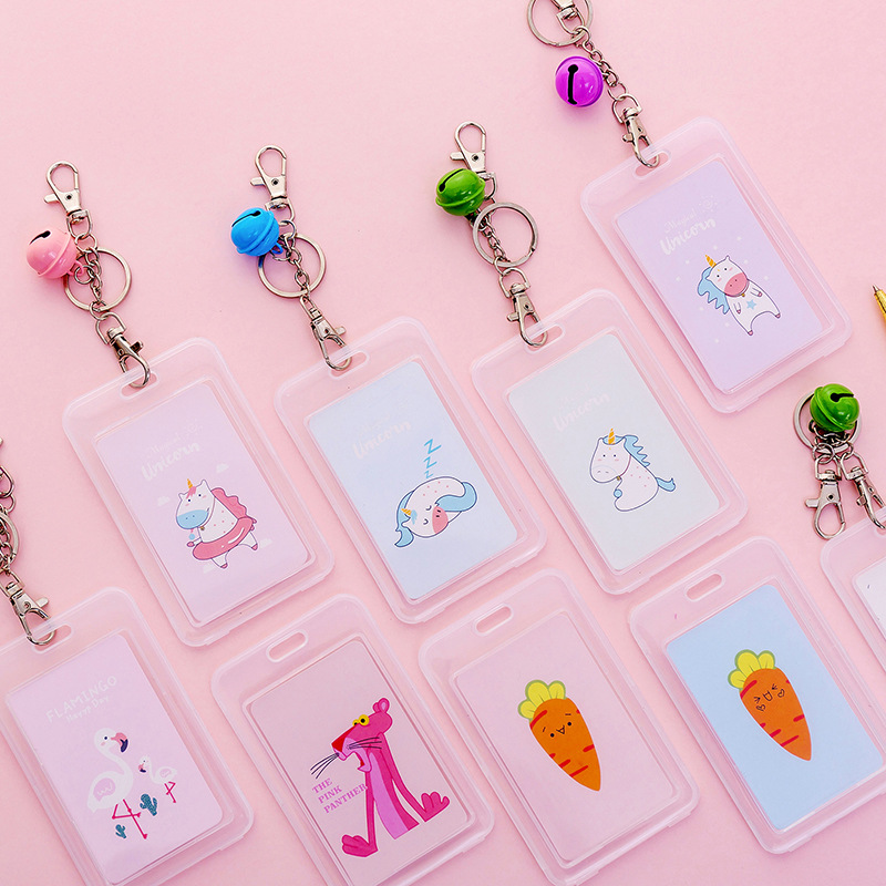 Transparent Bus Card Cover Protective Student Small Fresh Key Chain Cartoon Campus Card Holder