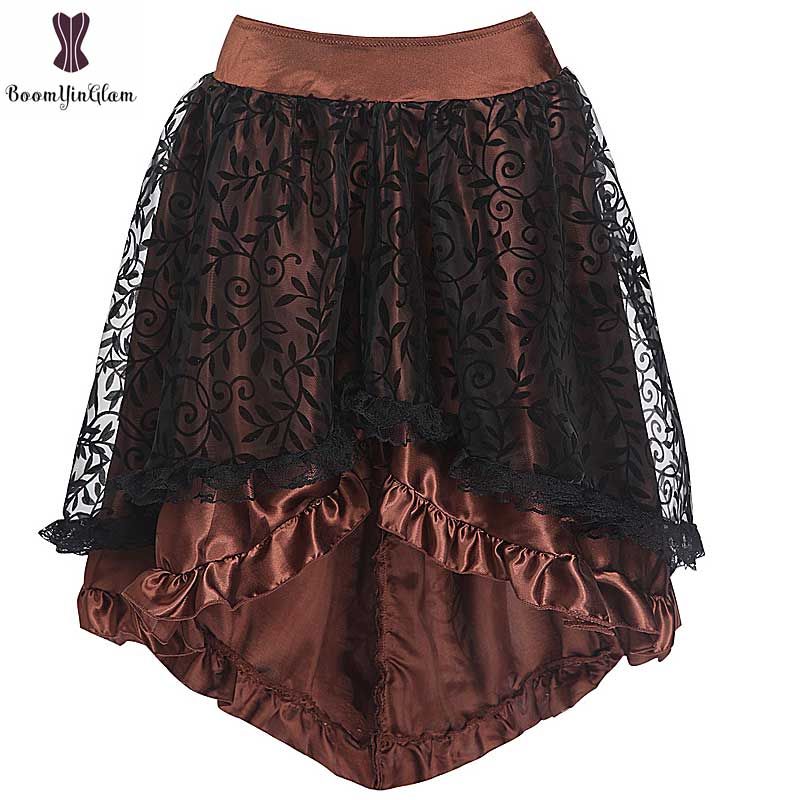 Coffee Black Satin Lace Corset Skirt Asymmetrical Floral Gothic Steampunk Women Vintage Plus Size Skirts Back Zipper Closure