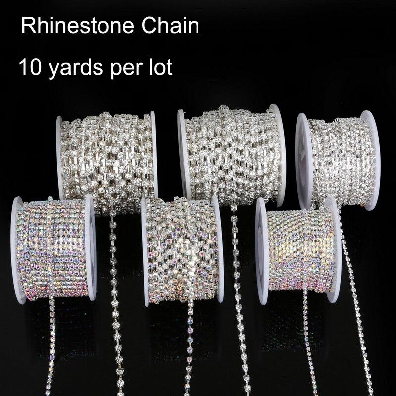 Лучшие продажи 10yard/roll медные цапы с прозрачной/Белый AB стеклянная цепочка с искусственными камнями посеребренные DIY ювелирных на аксессуары