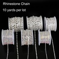 Top Sale 10 yard/roll Copper Claw With Transparent/white AB Glass Rhinestone Chain Silver Plated DIY Jewelry On Accessoires