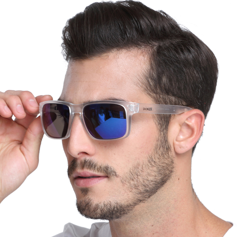 302e238e8da9 Dokly Fashion Sunglasses Men Sunglasses Men blue lens Clear Frame Eyewear  Male Square brand Sun Glasses UV400. size. 8002. -1