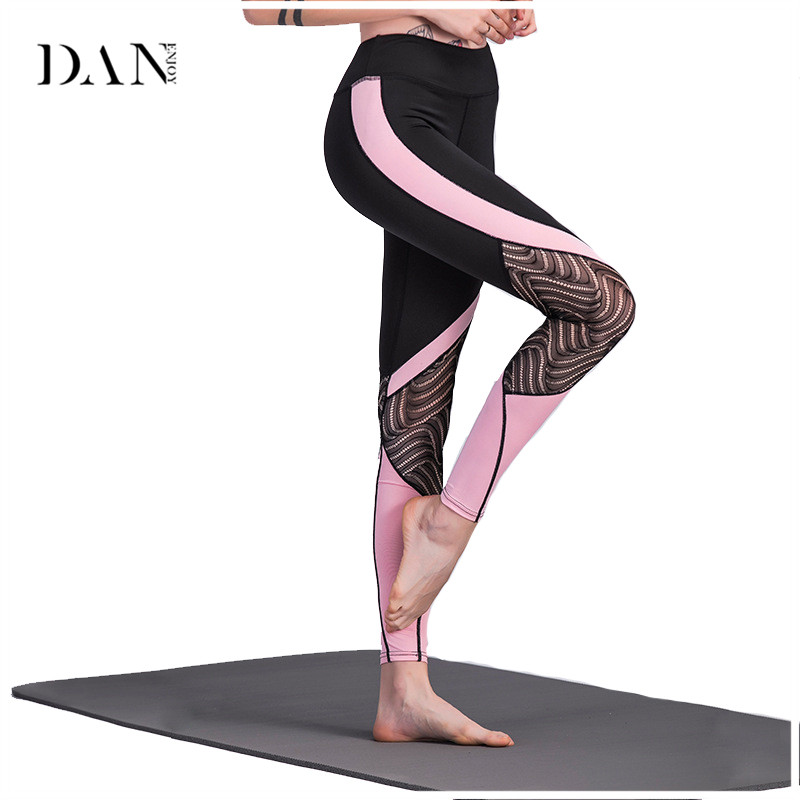 DANENJOY Leggings Women High Waist Compression Fitness Gym Tights Mesh Lace Patchwork Elastic Workout Gym Running Fitness Pant