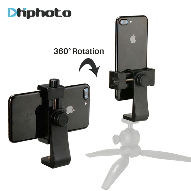 Universal Phone Tripod Mount Adapter Cell Phone Clipper Holder Vertical 360 Tripod Stand for iPhone X 7 8 Plus Samsung S8 S7