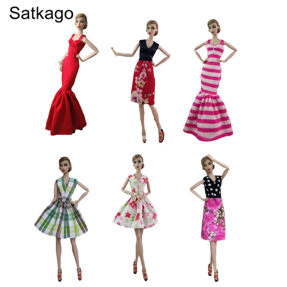 Satkago 6 PCS Fashion Girl Doll Toy Dresses Gown Outfits Clothes Accessories for Barbie Toys Girls Birthday Gift Random Style