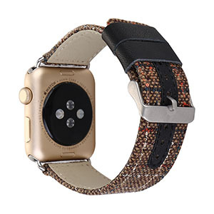 38-42mm For Apple Watch Series 4 Leather Band With Linen Cloth Watch Strap For Apple Watch Series 1 2 3 Wrist Bracelet Watchband   Watchbands