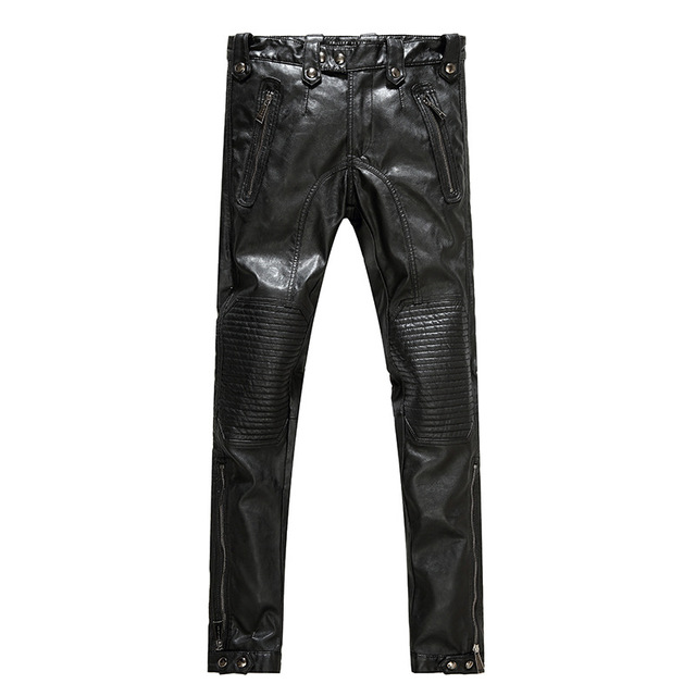 Hombres pantalones de cuero hombres pantalones de cuero de la motocicleta de la ciudad de moda 2017 hombres nuevo estilo de moda de LA PU pantalones de los hombres