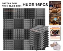 Новый 16 шт. Комплект черно-Серый 50x50x5 см (19.6×19.6×1.9in) Полушарие Сетки Панель Звук поглощения Акустической Пены KK1040