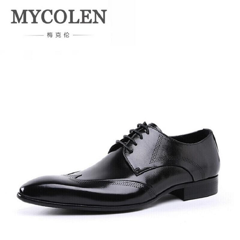 MYCOLEN Shoes Men Red Black Italian Style Top Leather Mens Oxford Shoes Lace Up Luxury Formal Business Wedding Shoes For Man hot sale italian style men s flats shoes luxury brand business dress crocodile embossed genuine leather wedding oxford shoes