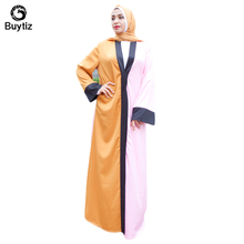 Buytiz Long Robe Gowns Boho Crepe UAE Half Orange Pink Muslim Abaya Maxi Arabic Dubai Caftan Islamic Clothing Kimono Ramadan