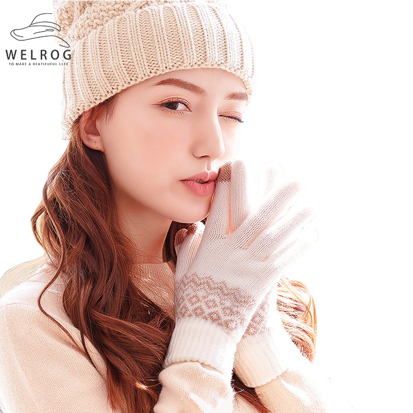 WELROG Winter Warm Touch Screen Gloves Knitted Woolen Mittens Men Women Cashmere Geometric Crinkle Gloves Full Finger Guantes