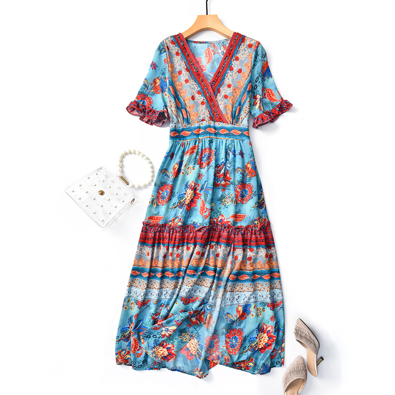 2019 Summer New Style Women Ethnic Color Printed Sexy Waist Was Thin Chiffon Dress Bohemian Beach Wear Leisure National Style