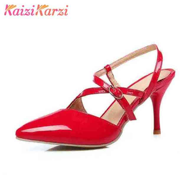 57bab9320 Tamanho 30-47 KaiziKarzi Tiras No Tornozelo Sandálias de Salto Alto Verão  Sapatos Sexy Dedo