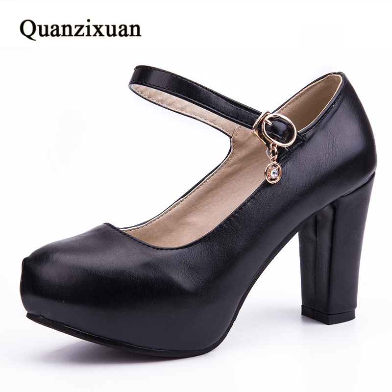 Фото Quanzixuan Buckle Strap High Heel Woman Pumps Platform Party Dress Shoes Woman Round Toe Black White Big Size 35-43
