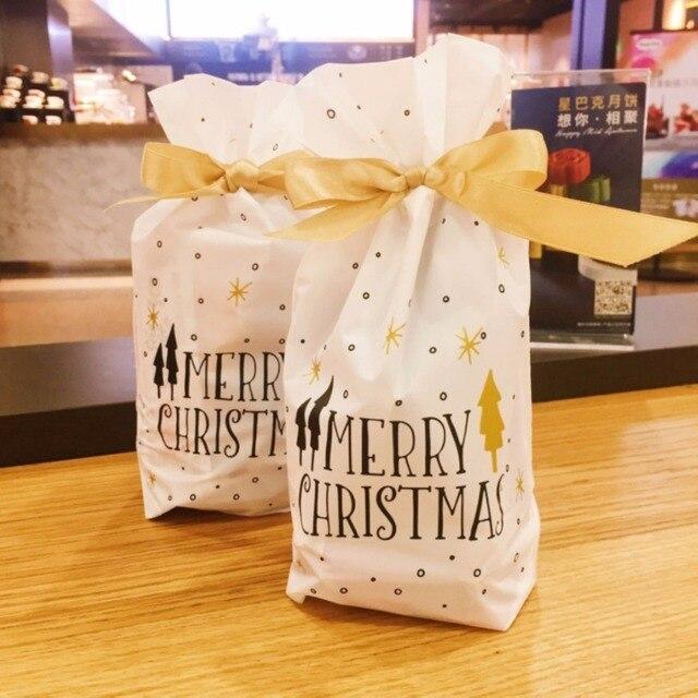 50 cái/lốc giáng sinh vui vẻ vàng tree Nhựa Dây Kéo Túi Sinh Nhật Đám Cưới Bên Trí Nội Thất cho cookie kẹo bag bánh cho gift