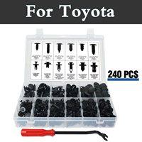 240pcs Bumper Clips Car Plastic Rivets Fasteners Push Retainer Kit Fits For Toyota Vios Vitz Will Cypha Windom Yaris Highlander