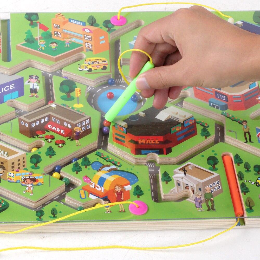 Детские игрушки, деревянный пазл, для раннего обучения, магнитный, двигающийся Бисер для игр, доска, 3D Пазлы для детей 2018 E3164Z