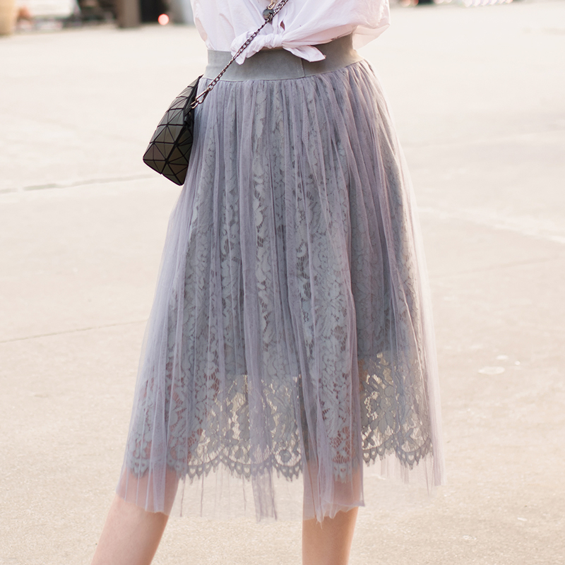 Spring Fashion Women Sweet Solid Gray/White Elastic WaistFloral Crochet Lace High Waist Layered Tulle Long A-line Pleated Skirts