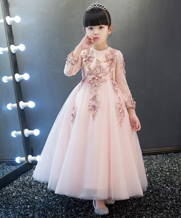 Pink sunny Children's Prom Dress long sleeve ankle length princess Evening dresses for girls Children dress up for girls holiday