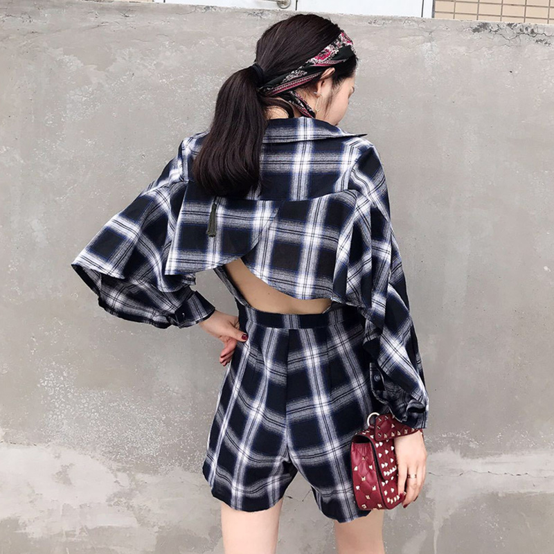 Spring Shorts Women Rompers Sexy Long Sleeve Streewear For Back Plaid Backless Palysuit Jumpsuit Black yellow Yellow Womens Vintage r4UHrq