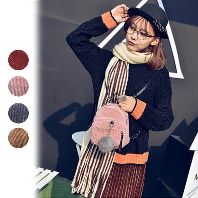 Simple Fashion Women Backpacks Canvas Plush Ball Shoulder Bag Retro Casual Ladies Girls Travel Shopping Mini