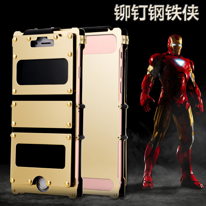 Cowboy style rivet Iron Man metal flip case for iphone 7 4.7 24K Gold case for iphone 7 stainless steel cover and Windows R just