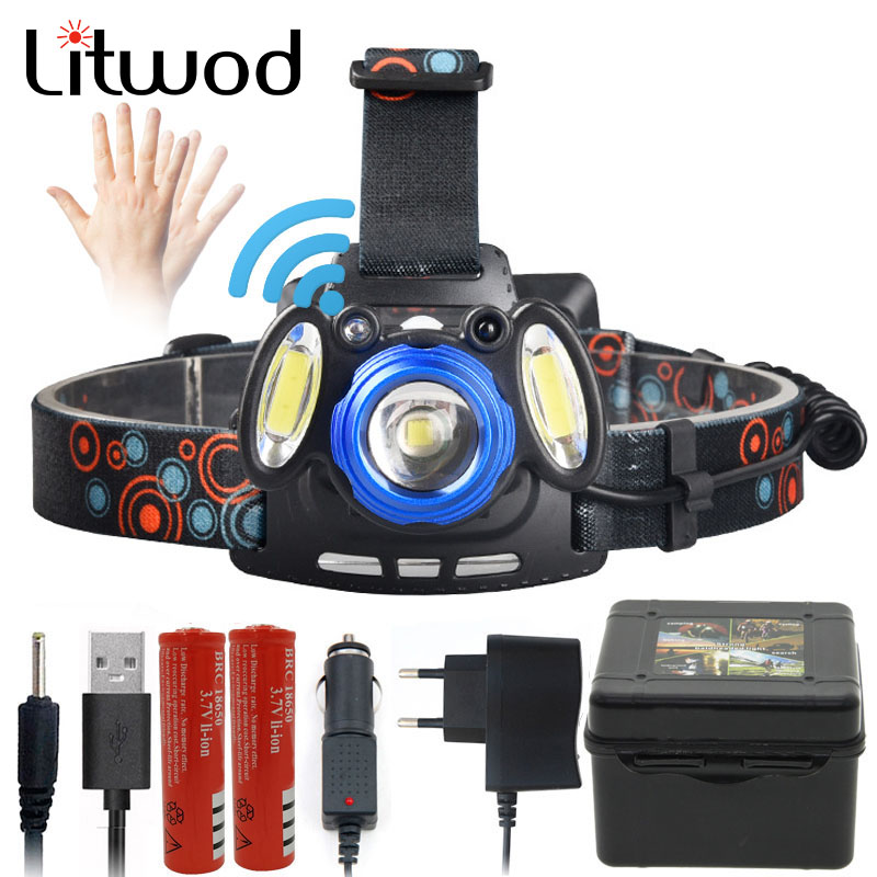 Z202305 Litwod LED Headlamp XM-L T6 COB  Zoom Lens Head Lamp Flashlight Torch Powerful 6000 Lumen By 18650 Battery Rechargeable