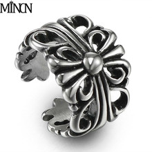 MINCN Men Ring Trend Fashion hollowed cross titanium steel ring retro mens stainless jewelry