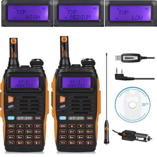 bilder für 2 STÜCKE Baofeng GT-3TP MarkIII TP 1/4/8 Watt High Power Dual Band 2 Mt/70 cm Ham Funkgeräte Walkie Talkie + Programmierung kabel & CD