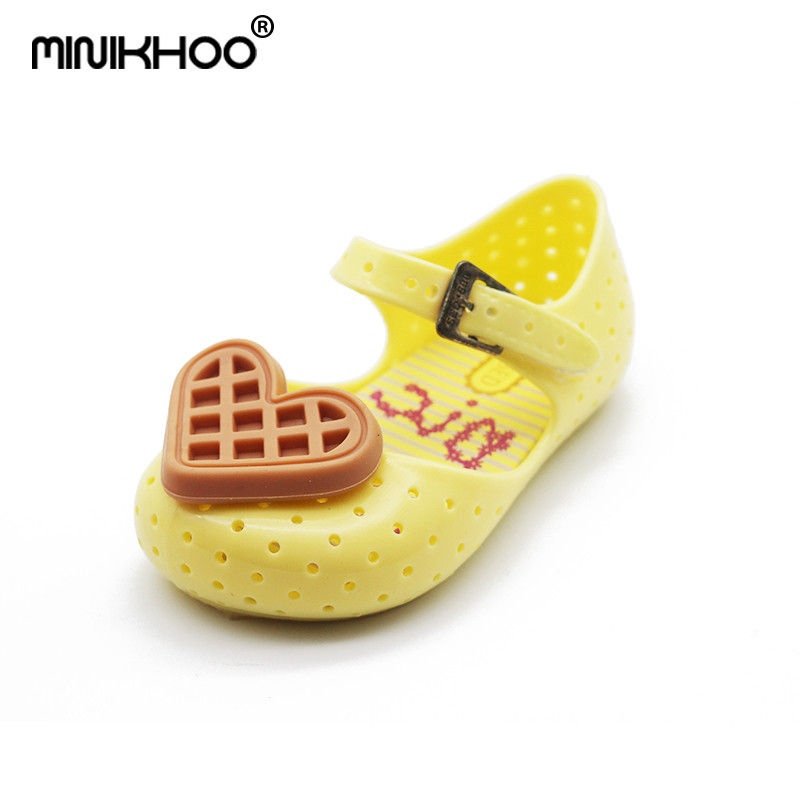 Mini Melissa Original Love Waffle Girl Jelly Sandals Brazil Children Sandals Baby Shoes Girl Sandals Beach Shoes 14cm-16.5cm