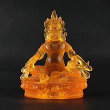 14.5cm Yellow Resin Tibetan Buddhist Tranic Suppliers Jambhala/Tsanbala Temple/Home/Office Decorate Statue Cratfs