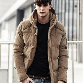 Mens Coats Parkas Corduroy Thick Hood Male Jacket Solid Warm Winter Men Parka Jacket Brand Cotton Corduroy Padded Coat new winter men s cotton linen padded thickened jacket china style male jeans coat mens fashion casual warm denim parkas jacket