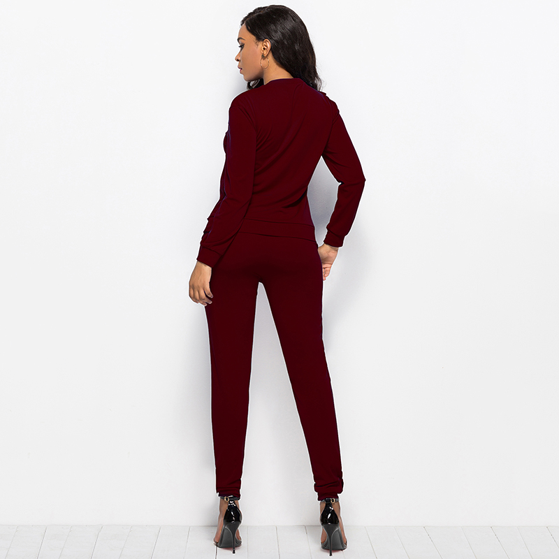 2019 Autumn New Solid Two Piece Sets Women Long Sleeve Round Neck Tops Trousers Ruffles Tracksuit Set 2 Piece Sets Ladies Suits 49