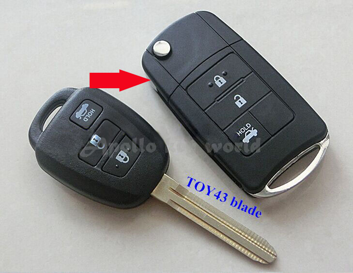 3 Buttons Modified Folding Flip Remote Key Shell Case For Toyota Corolla Camry Reiz New Vios Crown RAV4 With TOY43 Blade