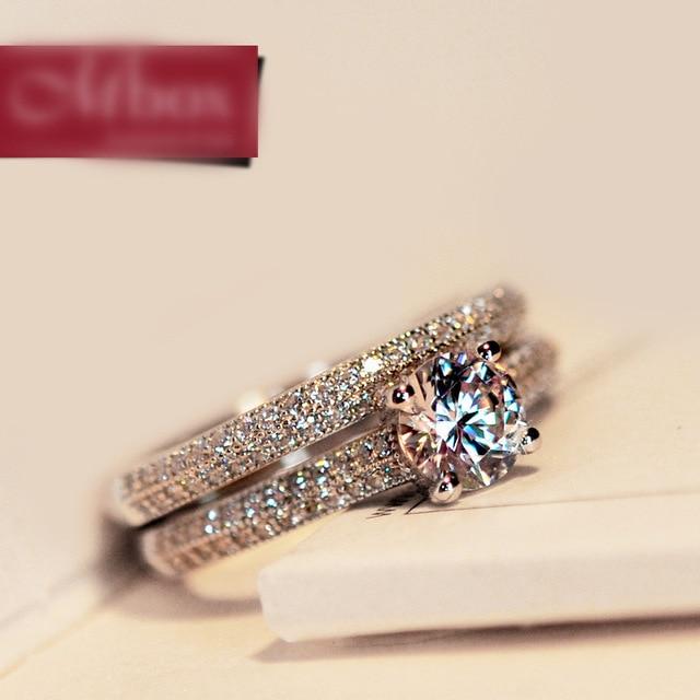 Bamos Nữ Sang Trọng Trắng Bridal Wedding Nhẫn Set Thời Trang 925 Bạc Đầy Đồ Trang Sức Hứa Hẹn CZ Đá Engagement Rings Cho Phụ Nữ