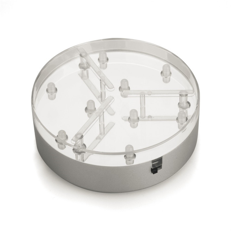 3AA Battery Operated Mirror Center  4 Inch 9LED Round White Light Stand Base For Crystals / Glass Art/Wedding Table Vase Decor