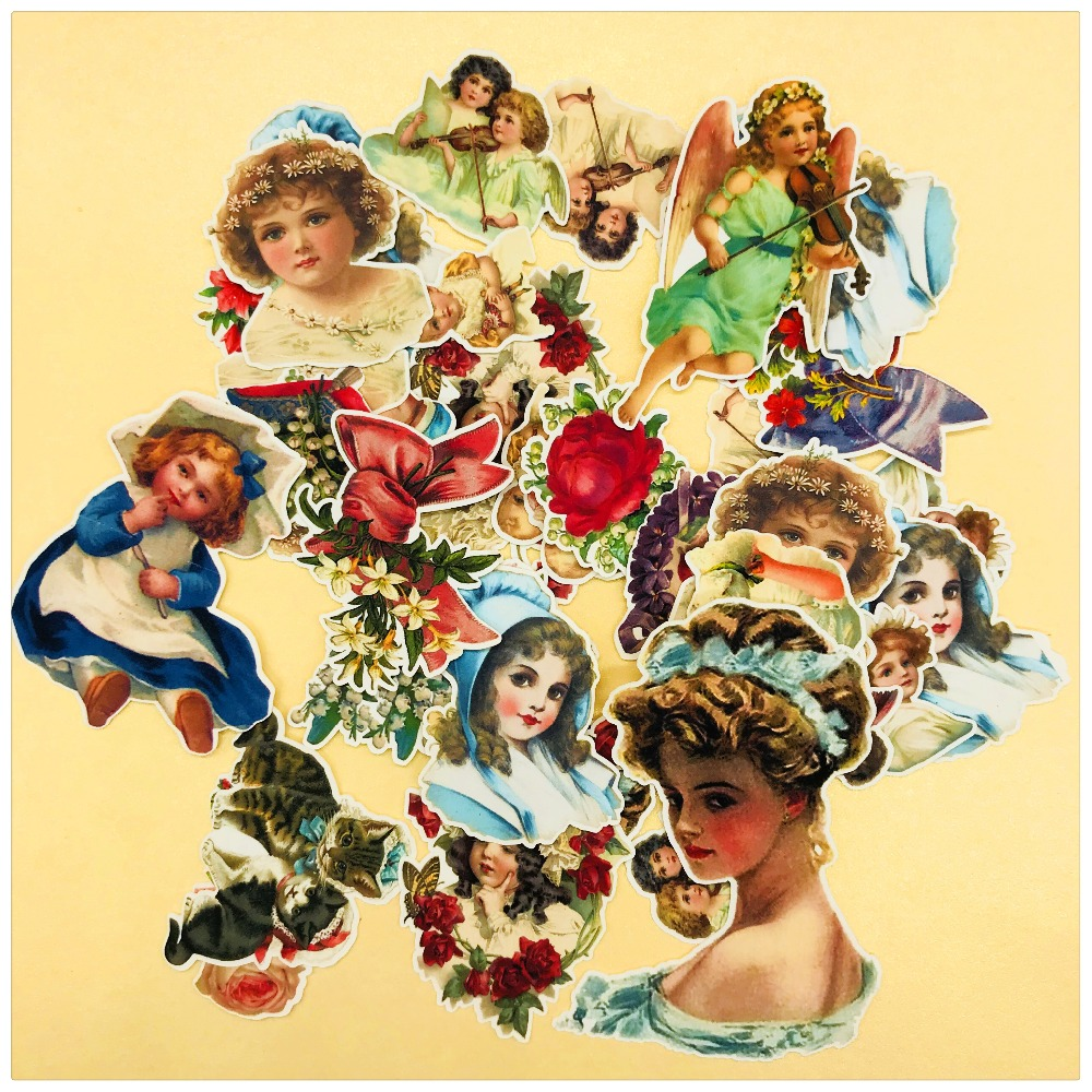 37pcs Hand Drawing  Classical Angels And Girls Sticker Scrapbooking Decorative Handbook Sticker Planner DIY Photo Stationery