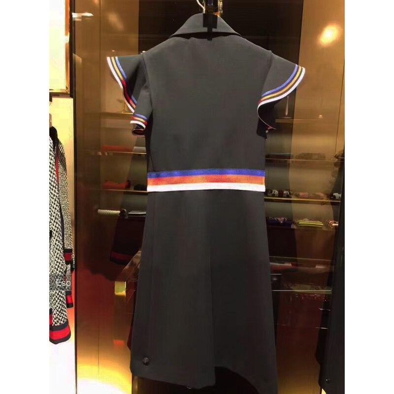 Bord 2017 Haute Marque D'été Patchwork Lotus Femmes Robes Bref Piste Hit De Feuille Arc Couleur Qualité Robe Designer Noir XxOqxET