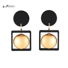 Simple Geometric wooden material Stud Earrings Short Pendant Jewelry Accessories Sweater Chain Earrings Female