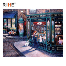 RIHE Street Girl Oil Painting By Numbers Store Cuadros Decoracion Acrylic Paint On Canvas For Artwork Modern Coloring