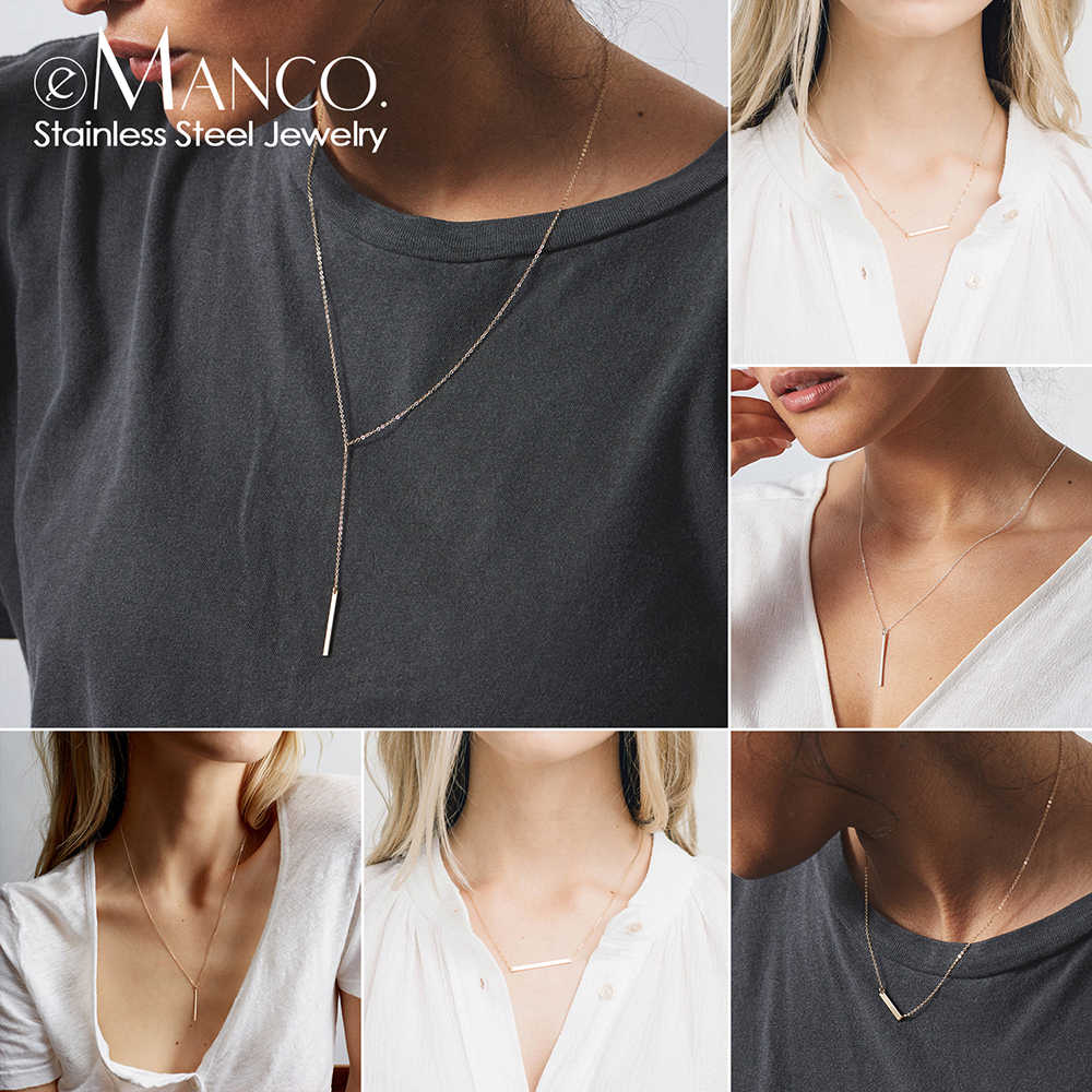 eManco Personalized Name Letter Necklace Women Chain Stainless Steel Necklace Custom Initial Chokers Necklaces for women Jewelry