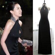 цены black chiffon Evening Dress new design hot sexy beading high neck long prom gowns 2015 vestido de festa longo robe de soiree