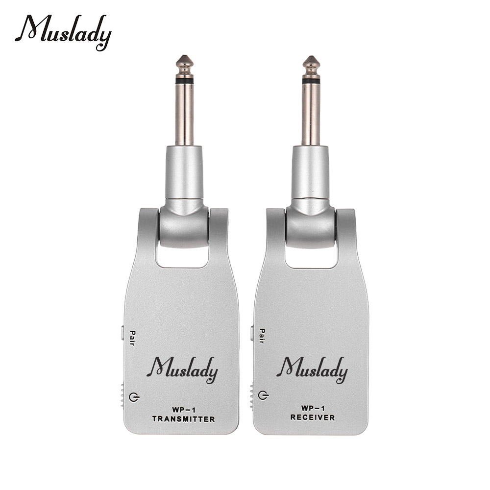 Muslady 2.4G Wireless Guitar System Transmitter & Receiver Built-in Rechargeable Lithium Battery 30M Transmission Range for Elec