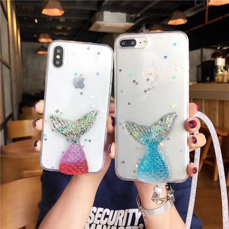 For iPhone XS X 8 7 6 6S Plus Cover Mermaid 3D Glitter Sparkling Clear Soft 1d613db6961d