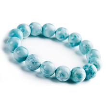 100% Natural Blue Larimar Gemstone Round Beads Bracelet 13mm Stretch From Dominica AAAAAA цена в Москве и Питере