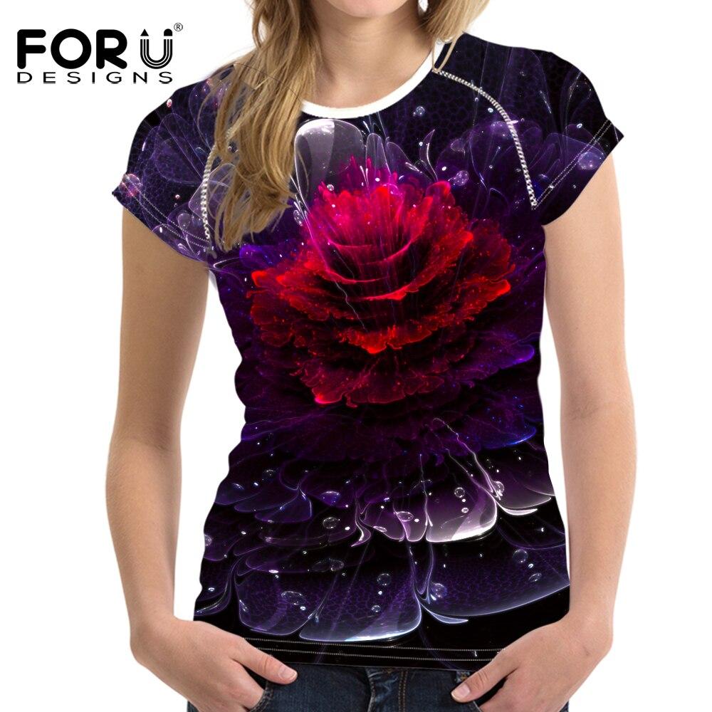 Forudesigns Moda Mujer Camiseta Tops Tees 3D Floral brillante - Ropa de mujer