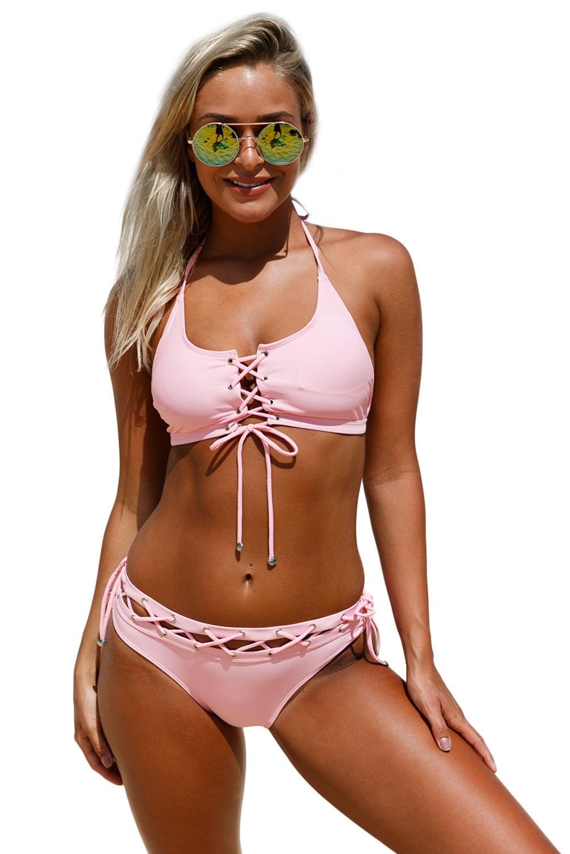 Lace up Halter Bralette Bikini Set Swimsuit Sexy Women Two Pieces Bathingsuit Beachwear Maillot Summer Swim Wear