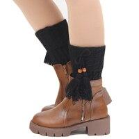 Wool Knitted Womens Leg Warmers Crochet Boot Cuff Ladies Leg Gaiter 2017 Winter Vintage Tassel Leg Warmers Female Beenwarmers